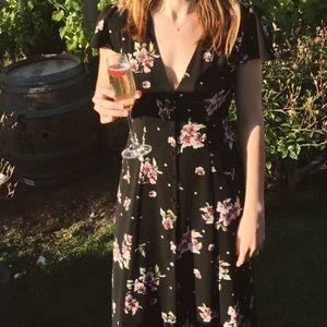 Zara Black Floral Button Up Maxi Dress